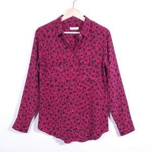 Equipment Leopard Print Slim Silk Shirt Career